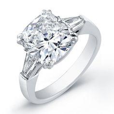 10 CTW CUSHION CUT GAL CERTIFIED F,SI2-I1 DIAMOND BAGUETTE ENGAGEMENT RING 14K!