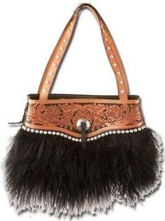7a18988fb2d (MS25301) Black Wooly Three Compartment Tote Purse Leather Tooling, Tooled  Leather, Tote