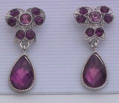 Purple Dangle Rhinestone Silvertone Earrings Pierced