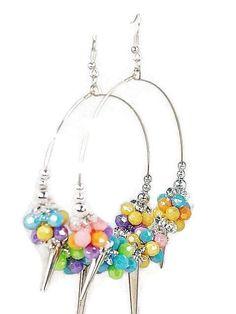 Spike Crystal Beaded 3 Inch Hoop Pierced Earrings in 4 Colors  #DropDangle