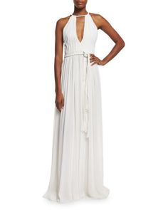 Nomi+Sleeveless+Pleated+Maxi+Dress,+White+by+Alice+++Olivia+at+Neiman+Marcus.