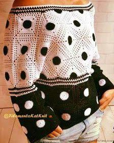 Uncinetto d'oro: Splendida maglietta a motivi! Crochet Tank Tops, Crochet Cardigan, Knit Crochet, Crochet Videos, Crochet Squares, Crochet Clothes, Crochet Patterns, Couture, Clothes For Women