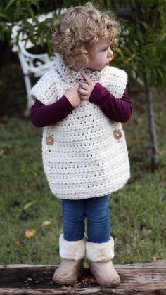 Crochet Baby Girl The Aspen Poncho - Free Crochet Pattern — Hooked On Tilly Crochet Baby Poncho, Crochet Toddler, Crochet Poncho Patterns, Crochet Girls, Crochet Scarves, Crochet For Kids, Crochet Shawl, Crochet Clothes, Easy Crochet