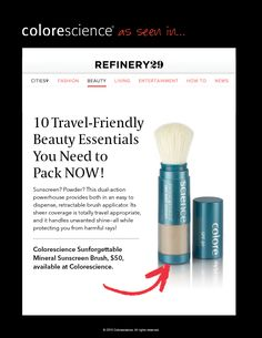 Sunforgettable Mineral Sunscreen Brush SPF 30 or SPF 50 featured on Refinery Rejuvecare Clinic MT Refinery 29, Beauty Essentials, Sun Protection, Sunscreen, Clinic, Minerals, Fashion Beauty, Make Up, How To Apply
