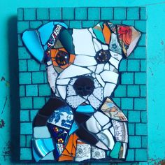 Pique Assiette Puppy, 21x25 cm #mosaic #piqueassiette #dog #woof #ngmozaik