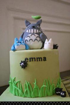 Totoro cake - perfect for my guys.