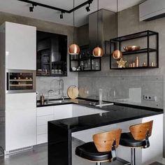 What You Don't Know About Best Clean & Elegant Contemporary Kitchen Ideas - homeexalt Studio Kitchen, Old Kitchen, Kitchen Decor, Kitchen Black, Kitchen Modern, Kitchen Ideas, Uo Home, Home By, Interior Design Kitchen