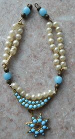 Antique French Fashion Doll Turquoise Pearl Necklace