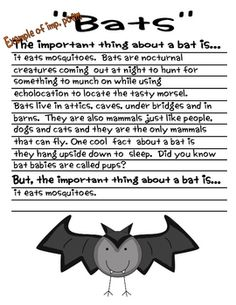 """This is a fun end of unit review activity to help students pull together all of the most important facts or details about a creature, person, place or thing they've been studying. This goes right along with our comprehension strategy of """"determining importance"""". I begin by reading them """"The Important Book"""" by Margaret Wise Brown. The pages in this unit are set up with that structure for different animals around the world. I have also included an example of an important poem on """"bats""""."""