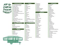 Pop up camping checklist for packing for your next trip. Make sure you always have what you need for every pop up camping trip. Camping Snacks, Camping Bedarf, Camping Water, Camping Checklist, Camping Essentials, Camping With Kids, Family Camping, Outdoor Camping, Camping Ideas