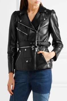 Alexander McQueen - Belted Leather Biker Jacket - Black - IT42