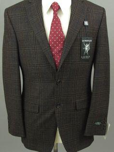 29c6a08aefe2a8 Lauren Ralph Lauren Men Brown 36R Windowpane Striped Wool Two Button Sport  Coat #fashion #
