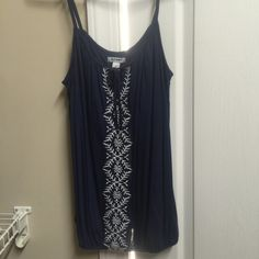 Elegant old navy top Must have for summer.. Sleeveless old navy blue top with embroidery work.. Never worn Old Navy Tops
