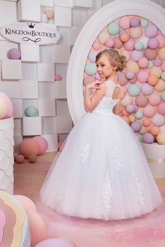 White Flower Girl Dress Birthday Wedding by KingdomBoutiqueUA