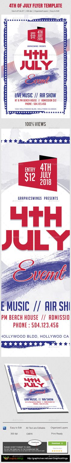 Buy of July Independence Day Flyer Template by kreativenet on GraphicRiver. All you need to do is add your event related info. I've made this file very easy for you to edit. This file is sold e. American Party, American Flag, Flyer And Poster Design, July Holidays, Independence Day, Flyer Template, Memorial Day, 4th Of July, Messages