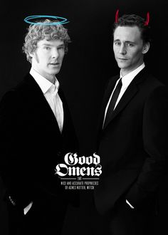 Benedict Cumberbatch as Aziraphale and Tom Hiddleston as Crowley? This is PERFECT! Oh Please Neil Gaiman and Terry Pratchett please oh please make this a thing! Neil Gaiman, Benedict Cumberbatch, Tom Hiddleston, Toms, Wil Wheaton, Terry Pratchett, Nerd Love, Star Wars, Superwholock