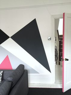 Mad About Paint Effects – Mad About The House - a pink door frame picks up on the pink used in the mural Half Painted Walls, Painted Doors, Gold Ceiling, Mad About The House, The Door Is Open, Gloss Paint, Paint Effects, Ticking Stripe, Bold Colors