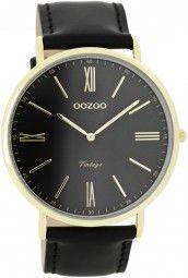 Oozoo Ultra Slim Vintage Herrenuhr C7704 - schwarz/gold - 44 mm - Lederband