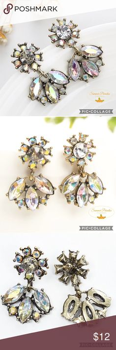 🎉BOGO50% OFF!💠NWT Crystal Earrings Vibrant iridescent crystal drop earrings perfect for holidays!                                                                     💠BOGO 50% OFF! Buy 1 item and get 2nd item of equal or less price at 50% OFF! Ask for a BOGO 50 bundle listing for your selections!                                                               💠FREE GIFT with purchase over $10!          TAGS: Crystal earrings, chandelier earrings, statement earrings Summer Paradise Jewelry…