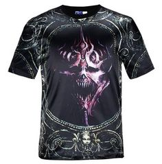 Men's 3 D Scary Face Printed Short Sleeve T Shirt
