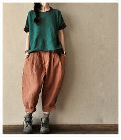 Green Short Sleeve Cotton sweater Women Clothing  knitting shirt