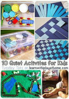 Learn with Play at home: 10 Quiet Activities for Kids  ~  Clicked on most of the links to check the activities out, and I REALLY like them!  It's a nice collection.
