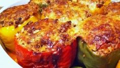 Recipe: Stuffed Bell Peppers Ingredients 6 medium bell peppers, 2 green, 2 yellow or orange & 2 red 1 cup long grain white rice 2 tablespoons olive oil 1 large Spanish onion , chopped fine Appetizer Salads, Appetizer Recipes, Middle East Food, Armenian Recipes, Armenian Food, Veggie Delight, Mediterranean Recipes, Greek Recipes, International Recipes