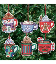 """Cocoa Mug Ornaments Counted Cross Stitch Kit-3-1/2""""X3-1/2"""" 14 Count Set Of 6"""