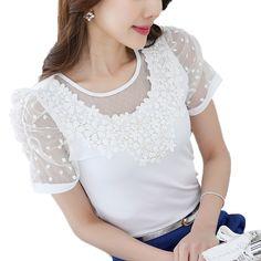 2017 Summer Gauze Stitching Shirt Women Korean Fashion White Blouse Women Slim Elegant Chemise Femme