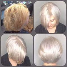 This new client came to me with yellow & orange tones in her hair (top left is b4.) She wanted to be #platinumblonde . I bleached her out, toned her & cut her hair to be softly round in the nape. It looks #whitehot don't you think? #blondehair #haircolor #bleachandtone #haircolorcorrection #shades9v #redkenshades #icyblonde #twistedscissorschicago #logansquare
