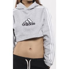 Vintage Adidas Crop Hooded Sweatshirt ($54) ❤ liked on Polyvore featuring tops, hoodies, cropped hooded sweatshirt, vintage crop top, sweatshirt hoodies, adidas hoodies and hoodie top