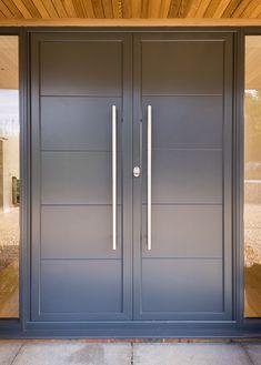 'Grand Designs' inspired Barn Conversion in Hertfordshire Wooden Front Door Design, Double Door Design, Wooden Front Doors, Painted Front Doors, Home Door Design, Door Gate Design, Door Design Interior, House Front Design, Modern Windows And Doors