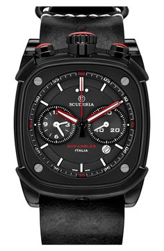 Free shipping and returns on CT Scuderia 'Scrambler' Leather Strap Watch, 45mm x 40mm at Nordstrom.com. Bold red accents add flashes of color to the sandblasted dual-eye dial and eye-catching top crowns of a sleek, sporty chronograph watch set on a comfy strap in smooth calfskin leather.