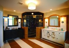 """Another design From Joe Berkowitz's HGTV Show. This is Joe's take on the """"His and Her Bath"""". Simple No, but how cool is the design. One more reason he was chosen as the winner of Show House Showdown."""
