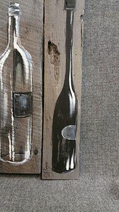 Wein Flasche Painting Palette Kunst Wanddekoration, rot- und Weißwein, aufgearbeiteten Holz, Distressed Weinflaschen, handgemacht, handgemalte, Geschenk  Original Acrylbild auf aufgearbeiteten Paletten Holz, das mit einem wasserbasierten Fleck grau gefärbt ist.  Dieses einzigartige Stück ist 15 1/2 X 19 in.  Geben Sie Ihre Küche oder Bar-Bereich einen persönlichen, schäbigen schicken Touch mit diesem rustikalen Artwork.  Dies ist das einzige ORIGINAL zu verkaufen. Weil die des…
