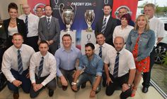 #UEFA Champions league and UEFA Super cup trophies at Wessex Garages #Nissan on Hadfield Road in #Cardiff in preparation for the 2014 #SuperCup match on 12/08/2014 between #RealMadrid and #SevillaFC