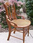For Sale - Antique Oak Chair With Caned Seat