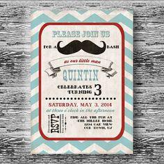 Vintage Mustache Bash Invitation For Boys Birthday By BeeAndDaisy Via Etsy