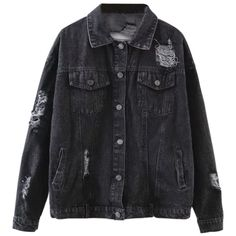 Graphic Distressed Denim Jacket Black (265 DKK) ❤ liked on Polyvore featuring outerwear, jackets and zaful
