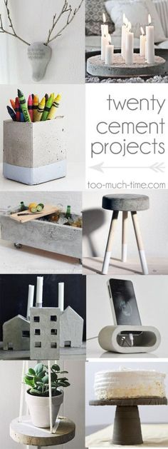 20 cement and concrete DIy craft projects from Too Much Time on My Hands - http://www.diyhomeproject.net/20-cement-and-concrete-diy-craft-projects-from-too-much-time-on-my-hands