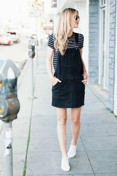 Quoi mettre avec un short en jean salopette tendance été 2017 robe salopette noire