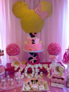 Pink and gold Minnie Mouse ballerina birthday party! See more party planning ideas at CatchMyParty.com!