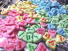 How to make your own homemade Valentine Conversation Hearts candies! Conversation Hearts Candy, Cute Kiss, Make Your Own, Make It Yourself, Converse With Heart, Homemade Valentines, How To Make Homemade, Candies, Desserts