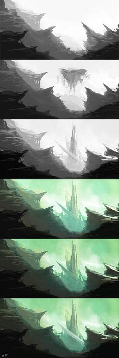 The Citadel painting process. Here is the finished piece The Citadel steps Digital Painting Tutorials, Digital Art Tutorial, Art Tutorials, Landscape Concept, Fantasy Landscape, Landscape Art, Environment Concept Art, Environment Design, Process Art