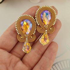 Soutache Bracelet, Soutache Jewelry, Bead Jewellery, Bead Earrings, Clay Jewelry, Jewelery, Ribbon Jewelry, Fabric Jewelry, Gold Bridal Earrings