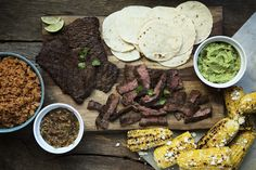 We're talking perfectly grilled chipotle marinated steak served with accompaniments that are as ready to party as you are. Your guests will line up for your guacamole, roasted Mexican Dishes, Mexican Food Recipes, Beef Recipes, Cooking Recipes, Ethnic Recipes, Cooking Chef, Easy Cooking, Cooking Light, Steaks