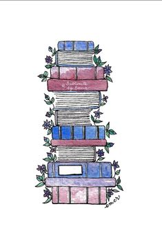 'Flowery Books' Poster by Emma Mildred Riggle Watercolor Projects, Watercolor Art, Family Illustration, Illustration Art, Purple Wallpaper Iphone, Creative Bookmarks, Cardboard Box Crafts, Bookmark Craft, Cactus Print