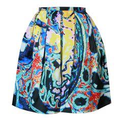 CHRISTOPHER KANE $1,155 brain scan print box FW13 pleated silk skirt 6/8/36 NEW #ChristopherKane #Pleated