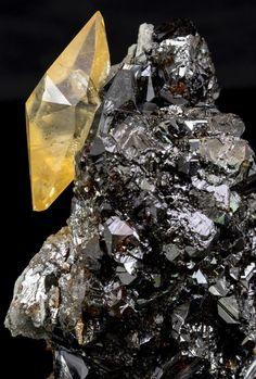 Gemmy, Orange, Double-Terminated Calcite Crystal on Sphalerite - Elmwood, TN
