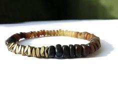 Grey Horn Faceted Brass Bracelet / Men Bracelet by Stretch Bracelets, Bracelets For Men, Bracelet Men, Grey And Beige, Shades Of Black, Bracelet Making, Gifts For Him, Horns, Brass